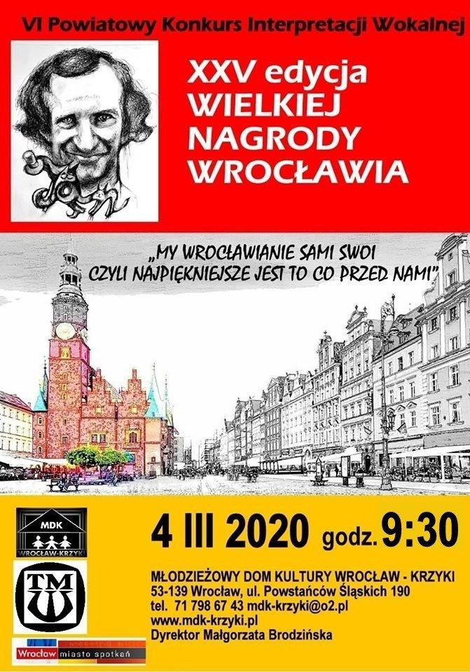 Plakat Vi Powiatowego Konkursu Interpretacji Wokalnej rozgrywanego w ramach XXV edycji Wielkiej Nagrody Wrocławia.