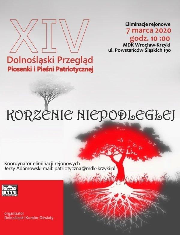 """Plakat XIV Przeglądu Piosenek i Pieśni Patriotycznych """"Korzenie Niepodległości"""""""